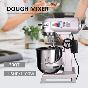 1100w 30qt Commercial Dough Food Mixer 3 Speed Dough Blender Stainless Steel