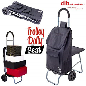 Trolley Dolly Seat Included Shopping Grocery Foldable Cart Tailgate Black New