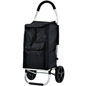 Shopping Trolley Foldable Grocery Cart Folding Laundry Pull Cart Wheels Black