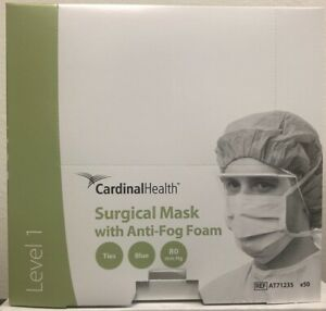 Cardinal At71235 Surgical Mask W Anti Fog Foam Box Of 50 Exp 01 25 Level 1 New