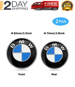 Bmw 2 Pieces Front Hood And Rear Trunk Emblem Logo Badge 82mm 74mm