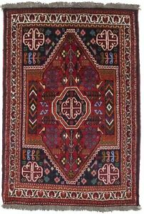 Hand Knotted Tribal Small 3x5 Vintage Rug Tribal Design Oriental Area Carpet
