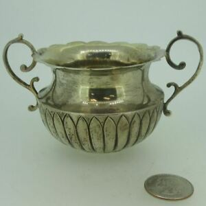Antique A C English Birmingham Sterling Silver Sugar Bowl With Handles