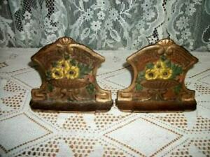 Antique Iron Flower Basket Bookends Art Deco Era Original Paint Cottage 1920 S