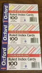 Index Cards Color Bar 3 X 5 Oxford Lot Of 3 Packs 100 Per Pack