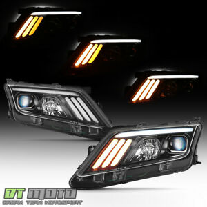 New Black 2010 2012 Ford Fusion Led Sequential Signal Drl Projector Headlights