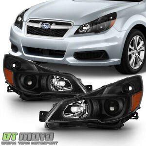 For 2013 2014 Subaru Legacy Outback Black Headlights Headlamps Light Lamps 13 14