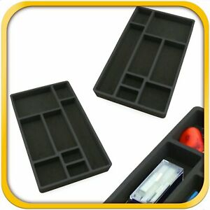 2 Desk Drawer Organizers Insert Black Home Or Office 8 Slot 19 9 X 12 1 New