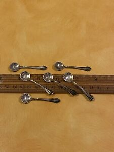 Set Six Vintage 925 Sterling Silver Salt Spoons By Webster Company No Mono 2