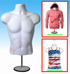 New Male Mannequin Form Stand torso Men Display Trade Show Pant T shirt white