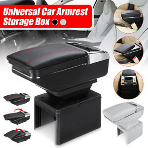 Pu Leather Universal Car Center Armrest Console Storage Organizer Box Cup Holder