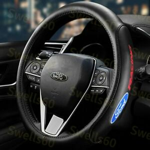 New Black 15 Diameter Car Auto Steering Wheel Cover Genuine Leather For Ford X1