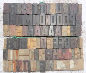 84 Piece Vintage Letterpress Wood Wooden Type Printing Blocks 33 M m bc 5008