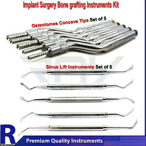 Dental Implant Bone Grafting Sinus Lift Elevators Surgical Osteotome Concave Set
