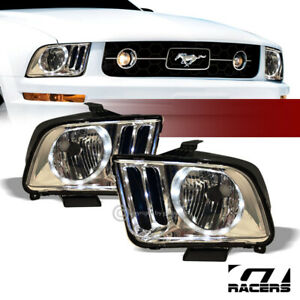 For 2005 2009 Ford Mustang Chrome Housing Drl Led Halo Ring Headlights Lamps Nb