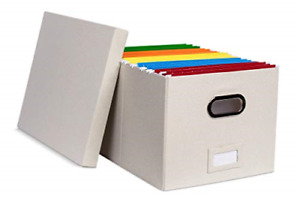 File Storage Box With Lid Collapsible Durable Letter Legal Filing Cream 1 Pack