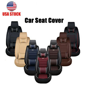 Car Seat Cover Protector cushion Front Rear Full Set Pu Leather Universal