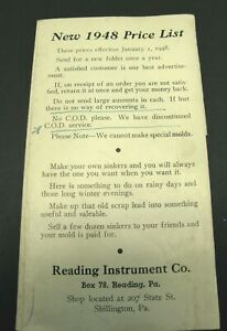 1948 Price List for Sinker Lead Molds Reading Instrument Co PA Illustrated $23.95