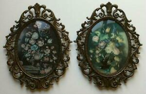 2 Vintage Italy Ornate Metal Convex Glass Picture Frames Florals 13 X 10 1 2