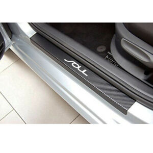 4pcs For Kia Soul Carbon Fiber Vinyl Welcome Pedals Sill Guards Sticker