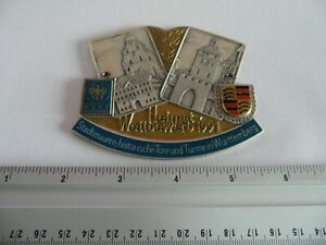 Vintage Porsche Tour Club Meeting Porcelain Enamel Grille Badge Emblem Sign 1991