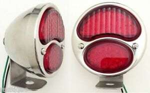 Led Red Stainless Steel Taillights Universal Mounting Bracket Flat Bed Dump Gm1