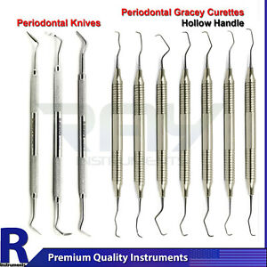 Periodontal Surgery Gracey Curettes Dental Gingival Tissue Trimming Knives Tools