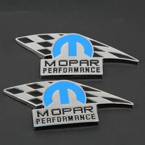 2pc Mopar Performance Dark Blue And Chrome Emblem Fits Dodge Jeep Chrysler Badge