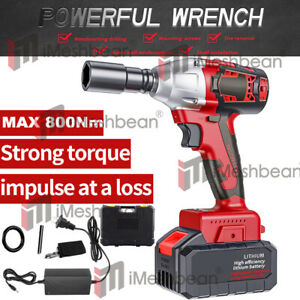 1 2 20v Brushless Impact Wrench Torque Rattle Gun Kit Electric Cordless Battery