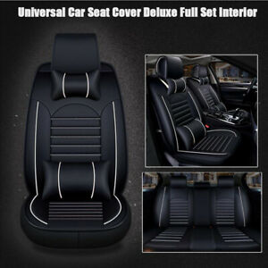 Universal Car Seat Cover Full Set 5 seats Pu Leather Deluxe Protector Cushion Us