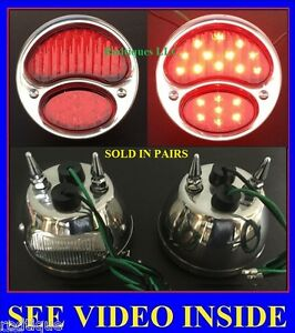 12v Model A Led Taillights With Spikes All Red Ford 1928 1929 1930 1931 12 Volt