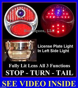 Led Blue Dot Stainless Steel Taillights W License Plate Light Hot Rod Universal