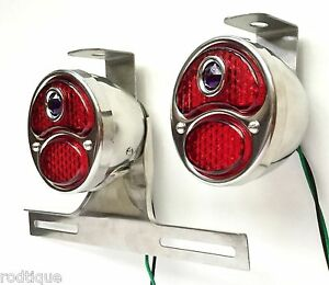 Led Blue Dot Stainless Taillights W Plate Light Brackets Flat Bed Dump F1