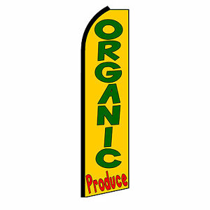 Organic Produce Banner Flag Sign Display Only Flutter Swooper Feather 3 Wide