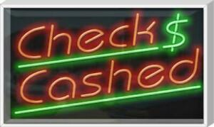 Outdoor Checks Cashed Neon Sign Outdoor Jantec 37 X 22 Check Money