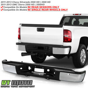 2011 2013 Chevy Silverado Sierrsa 2500 3500 Hd W Sensor Holes Chrome Rear Bumper