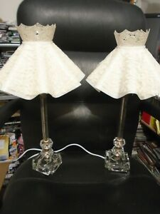 Pair Of Vintage Etched Crystal Dresser Lamps With Shades