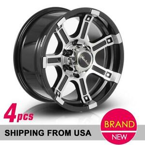 4x Black Machined 16x8 6x139 7 108 2 0mm Wheels Rims For Nissan Frontier Titan