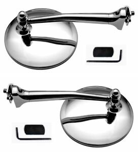 4 Chrome Straight Arm Peep Mirrors Clamps To Door Edge Rearview Pair Gm