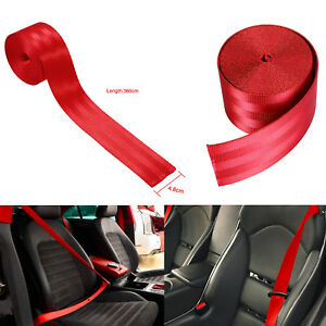 Car 3 6m Seat Belt Webbing Polyester Seat Lap Retractable Nylon Safety Strap Red