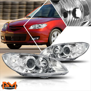 For 04 09 Mazda 3 4 Dr Projector Chrome Housing Headlight Clear Side Corner Lamp
