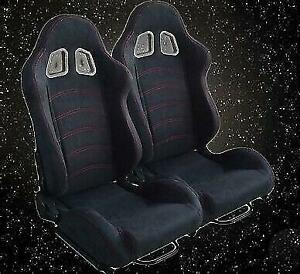 New Universal 2 Pcs Black Racing Seat Red Stitch Reclinable Cloth