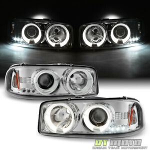 1999 2006 Gmc Sierra 1500 Yukon Denali Led Halo Projector Headlights Headlamps