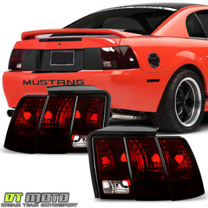 1999 2004 Ford Mustang Red Smoked Tail Lights Rear Brake Lamps Pair Left right