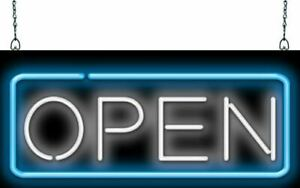 Open With Border Neon Sign Jantec 32 X 13 Real Neon Blue White Store