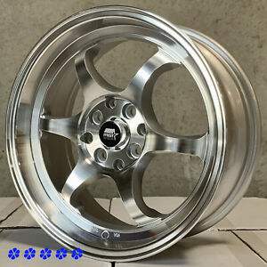 Mst Mt39 16 X7 30 Machine Silver Rims Wheels 4x100 Concave 01 Acura Integra Gsr