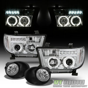 For 07 13 Toyota Tundra Dual Halo Projector Drl Led Head Lights fog Lamps switch