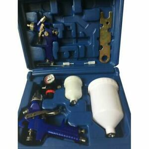 2 Hvlp Air Spray Gun Kit Auto Paint Car Primer Detail Basecoat Clearcoat W Box