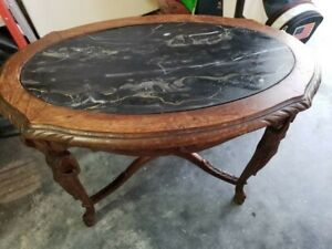 Antique Tea Table Coffee Table With Marble Top W Fine Wood Details