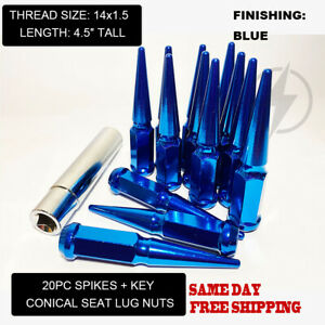 Fit Chrysler 300 2005 2019 4 5 Spike Lug Nut 14x1 5 Conical Seat Blue 20pc Key